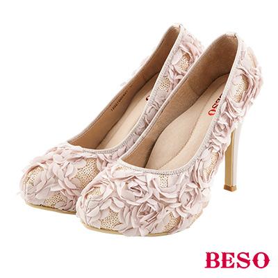 BESO 浪漫綺麗 立體玫瑰亮片婚鞋~粉紅