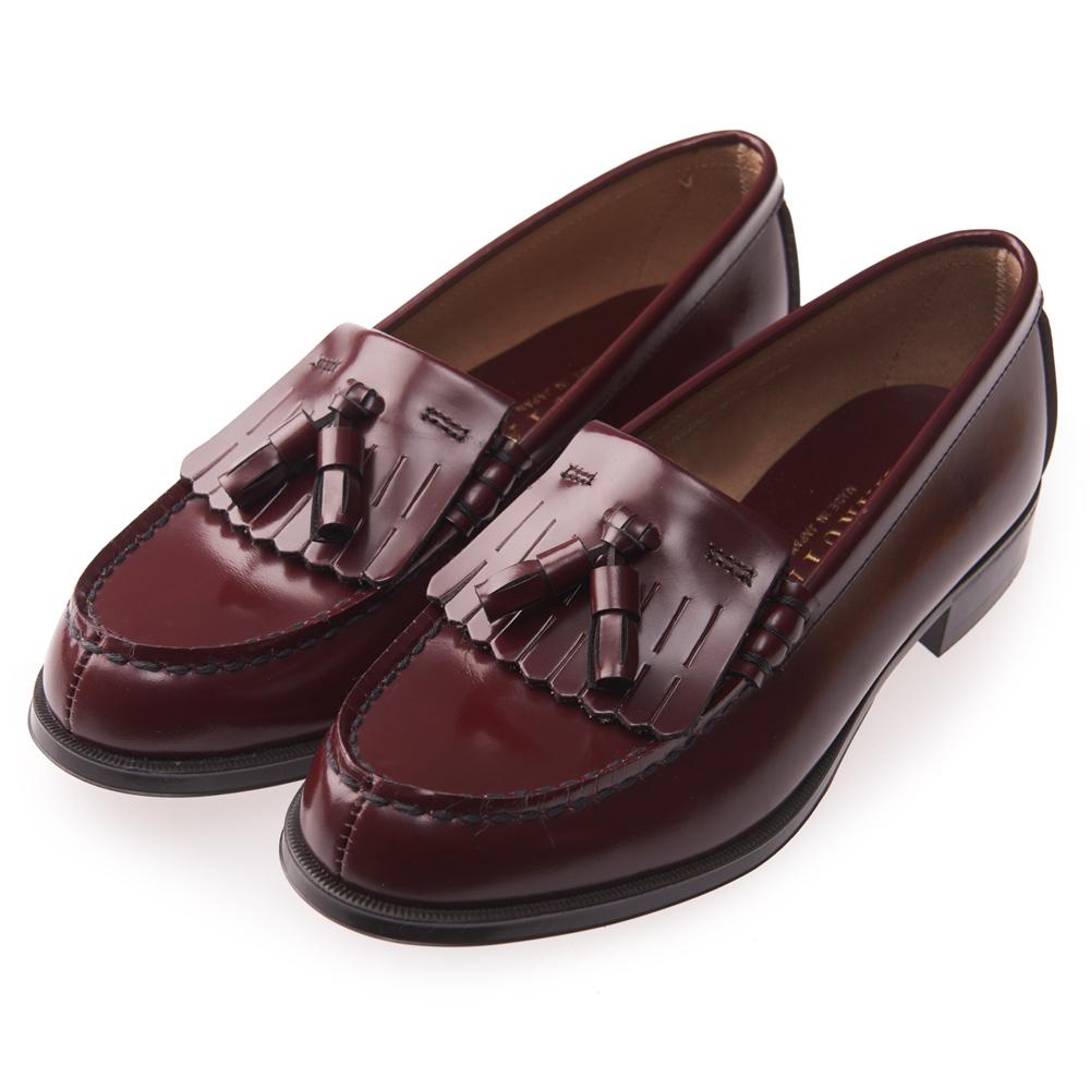 (女)日本 HARUTA 質感真皮流蘇樂福鞋-酒紅色