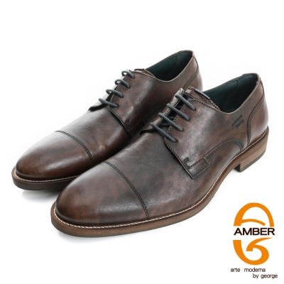 Amber-帥性都會 真皮仿舊綁帶紳士鞋皮鞋(男)-咖色