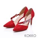 KOKKO經典手工- 優雅尖頭水鑽蝴蝶結摟空高跟鞋 - 紅