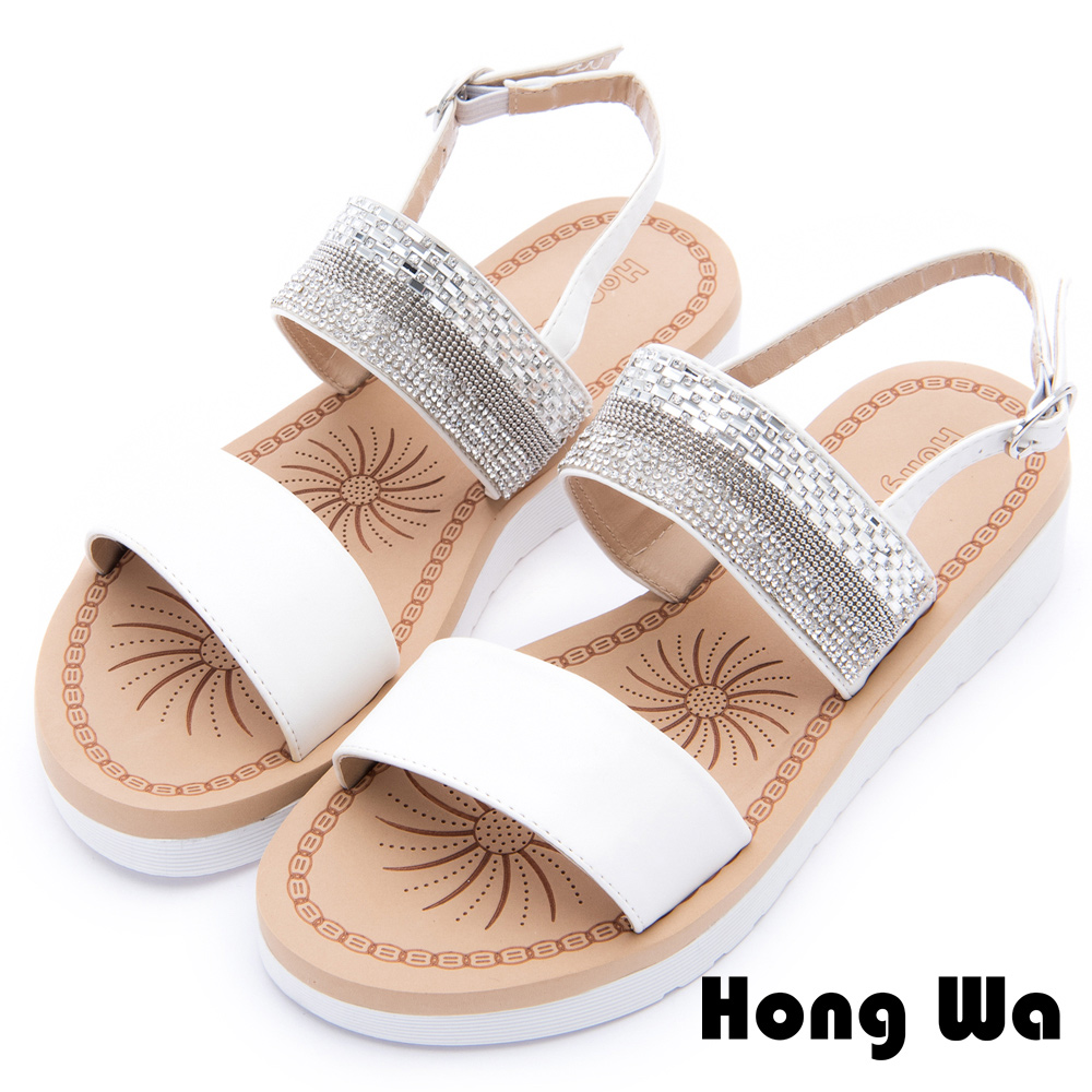 Hong Wa - 民俗圖騰風格金屬時尚涼鞋 - 白