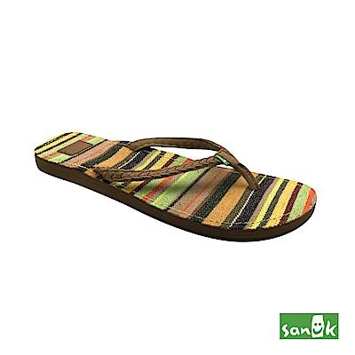 SANUK 繽紛條紋人字拖鞋-女款(綠黃色)