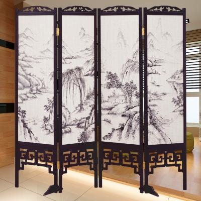 時尚屋 中國風國畫潑墨山水6尺雙面屏風 寬182cm 多色可選-免組