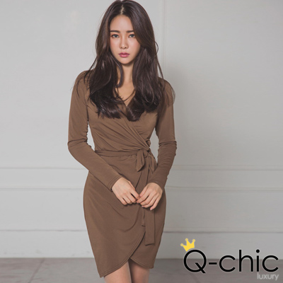 性感深V開襟綁帶抓皺磨毛裡洋裝 (共三色)-Q-chic