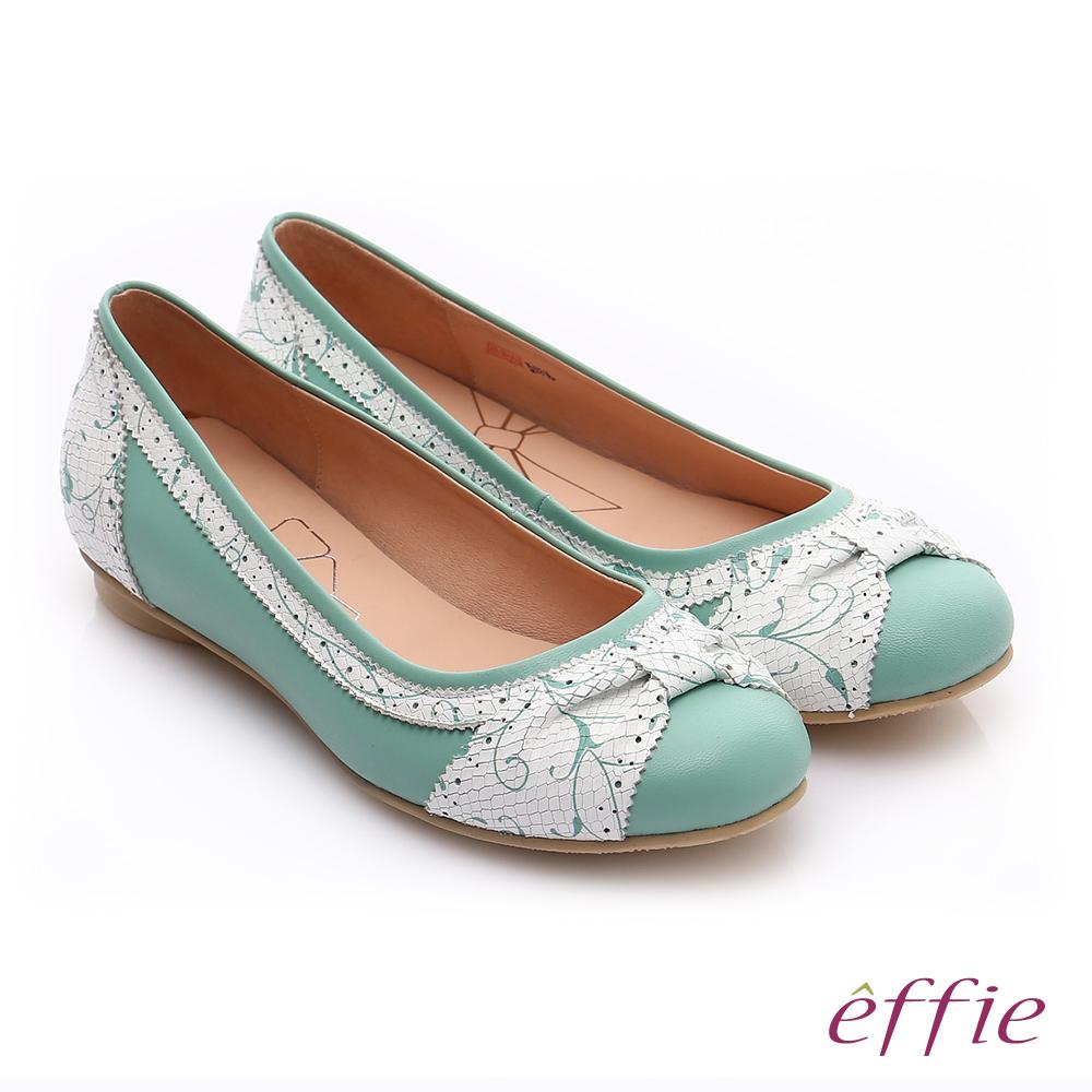 effie 繽紛舒適 羊皮拼接壓紋扭結平底鞋 淺綠