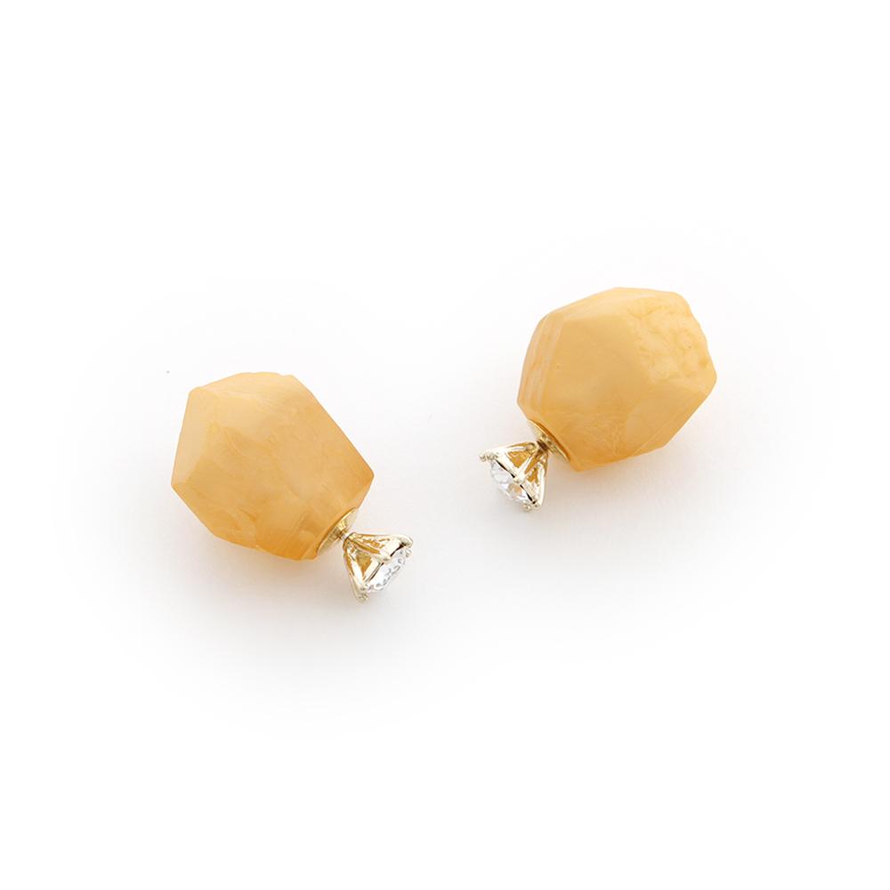 JewCas Quart系列天然石水晶耳環_JC2251