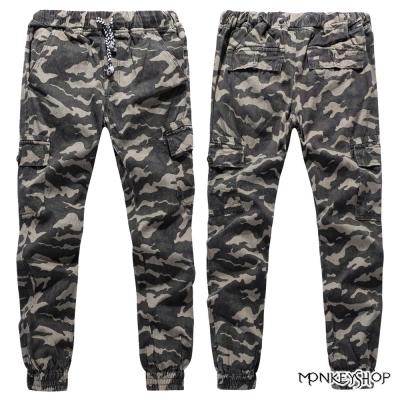 小猴子的賣場 彈性百搭顯瘦迷彩軍裝束腳工作休閒褲-3色