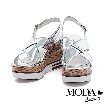涼鞋 MODA Luxury 摩登鏡面交織寬帶厚底楔型涼鞋- 銀