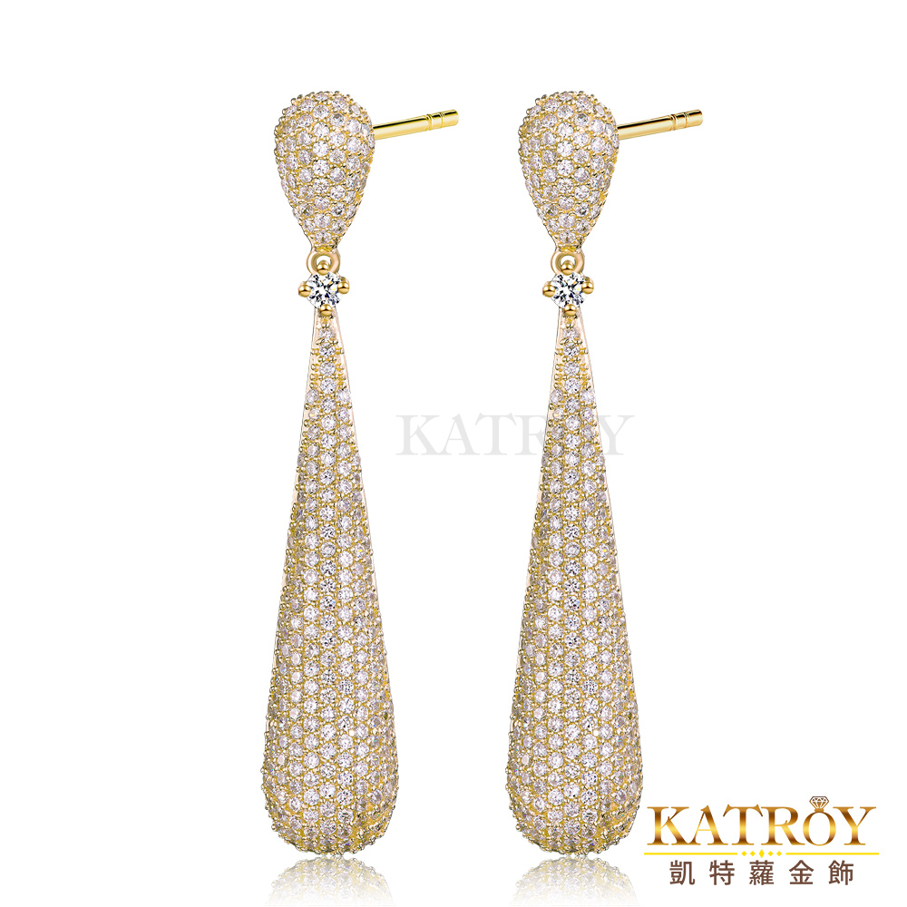 KATROY 925純銀耳環針式鍍K金滿鑽爪鑲-共3色 product image 1
