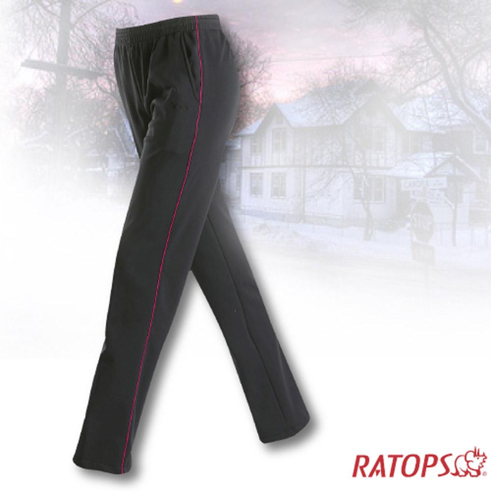 【瑞多仕】中性款 刷毛保暖長褲(出芽配)_DB5935 暗黑色/粉緋色 V1