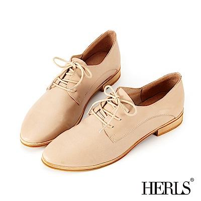 HERLS 柔軟全真皮 舒適素面德比牛津鞋-杏色