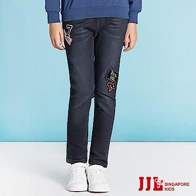 JJLKIDS 徽章貼彈力鬆緊腰直筒牛仔褲(黑色)
