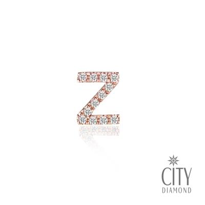 City Diamond引雅【Z字母】14K玫瑰金鑽石耳環(單邊)
