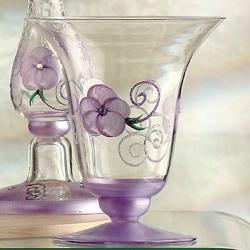 Madiggan玫瑰系列手工彩繪喇叭燭台花瓶-小(粉紅.紫色.金黃三色任選)