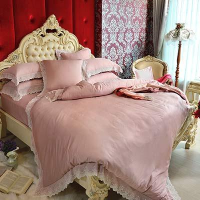 義大利La Belle 蒂絲格爾 雙人天絲蕾絲四件式舖棉兩用被床包組