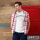 JEEP 文青風格時尚格紋短袖襯衫-紅灰格
