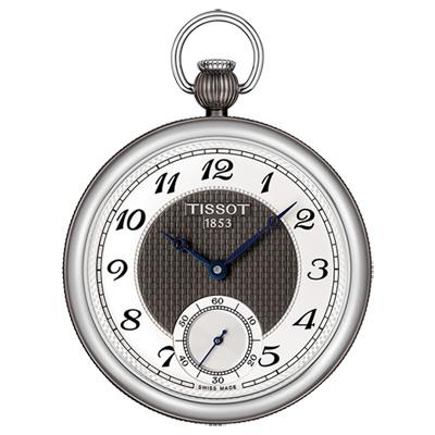 TISSOT 天梭 小秒針無蓋式機械懷錶(附鍊)-銀x黑/45mm
