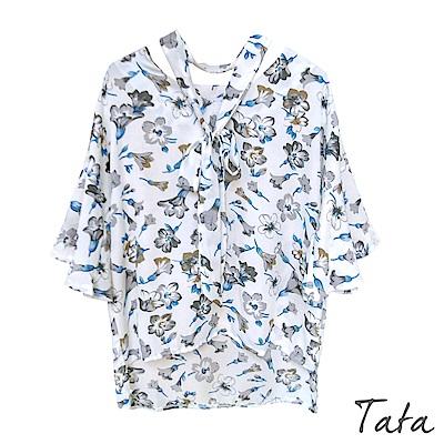 七分袖前短後長印花上衣(配綁帶)共二色 TATA