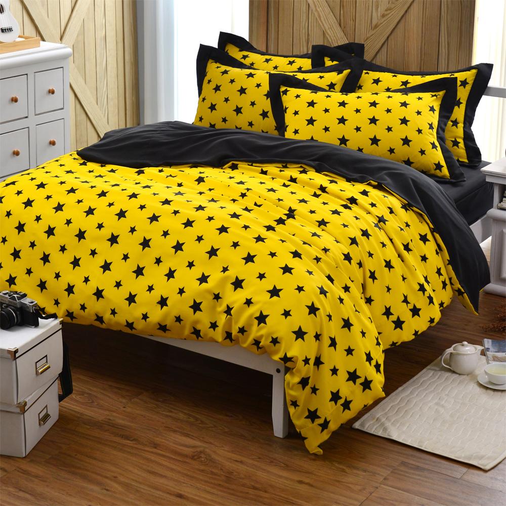 原創本色 星星之都 吸濕排汗加大四件式被套床包組 黃