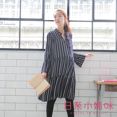 日系小媽咪孕婦裝-層次感幾何圖形喇叭袖雪紡洋裝