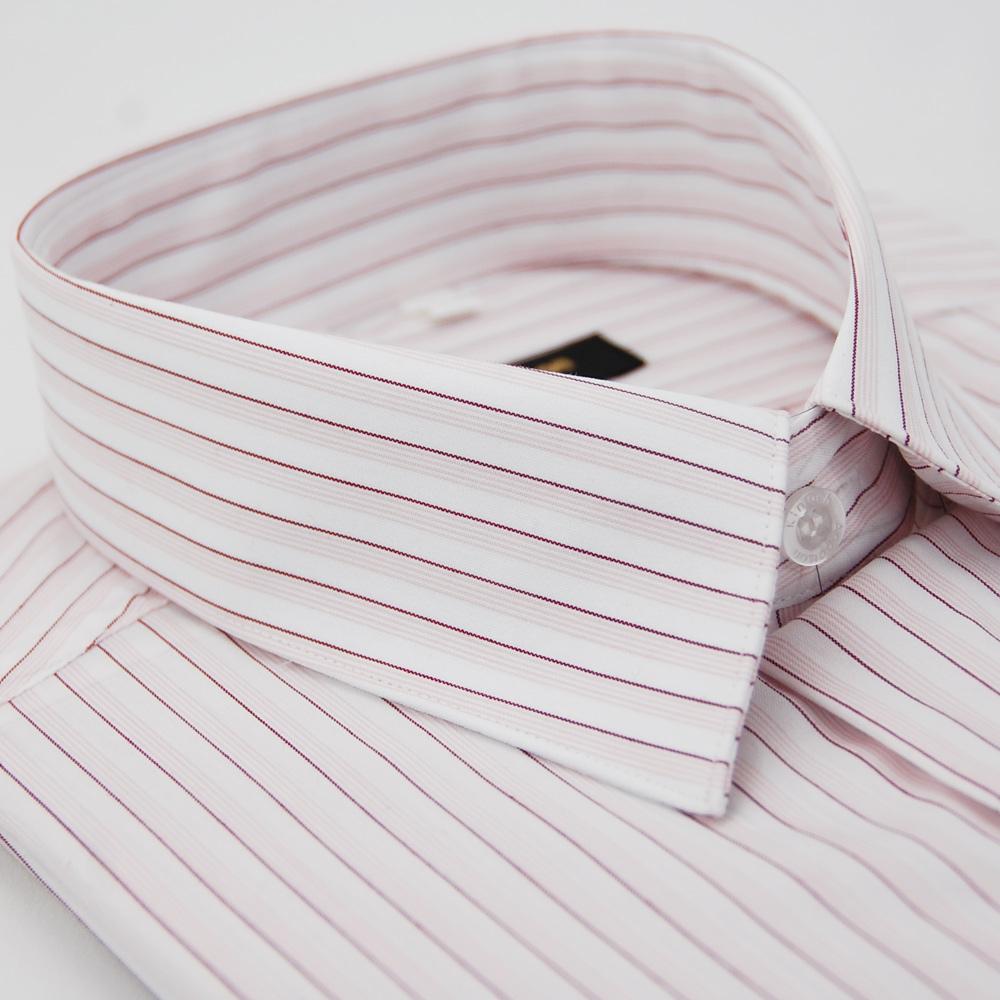 【金安德森】白底粉紫條紋短袖襯衫
