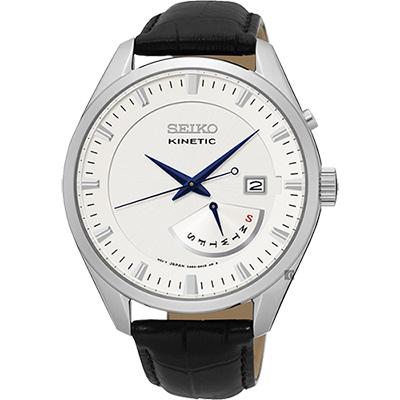 SEIKO 精工 Kinetic 日曆人動電能腕錶(SRN071P1)-銀/42mm