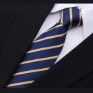 拉福   斜紋領帶6cm中窄版領帶拉鍊領帶 (藍黃紋)