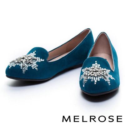 休閒鞋 MELROSE 雪花造型晶鑽羊麂皮內增高樂福休閒鞋-藍