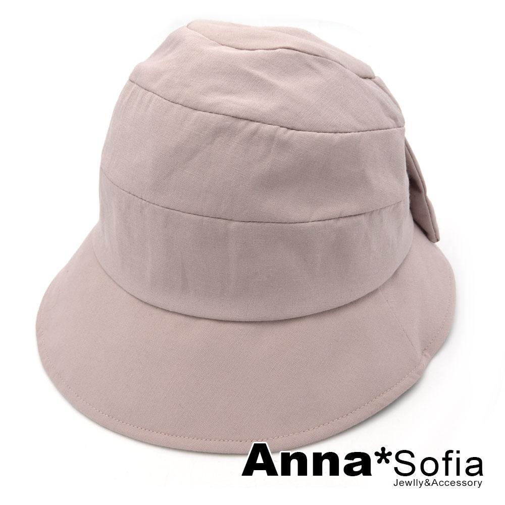 【滿額再75折】AnnaSofia 俏結圈拼頂 遮陽防曬漁夫帽盆帽(藕粉系)