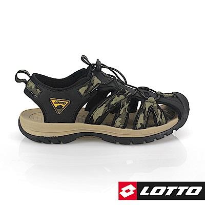 LOTTO 義大利 男 護趾運動涼鞋(迷彩綠)