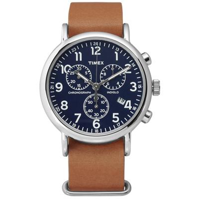 TIMEX 天美時 INDIGLO 美國復刻回憶三環計時真皮腕錶-深藍x駝/40mm