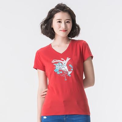 【SNOWFOX 雪狐】女款V領防曬透氣吸濕排汗短袖聯名圖T恤AT-81615W紅