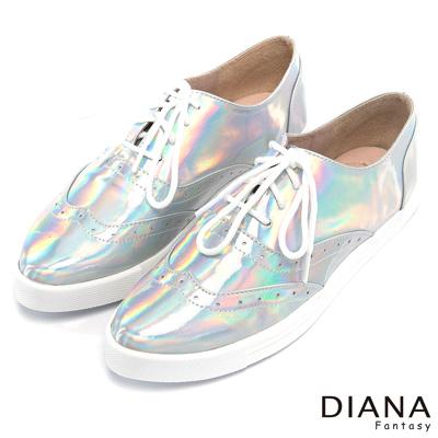 DIANA 超厚切焦糖獅子款--經典車線炫光綁帶平底鞋-銀
