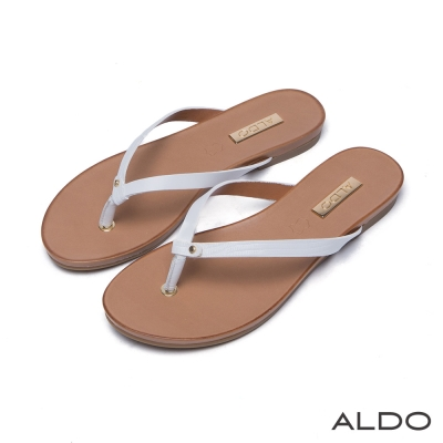 ALDO-真皮原色蛇紋夾心底人字型夾腳涼鞋-氣質白