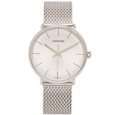 CK Calvin Klein圓弧鏡面款銀色米蘭帶手錶(K8M21126)-銀面/39mm