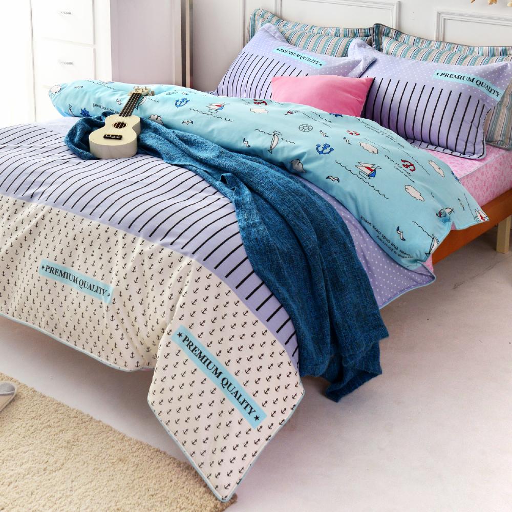 (8H極速配)GL  旅行的意義-海洋 精梳純棉加大兩用被床包四件組