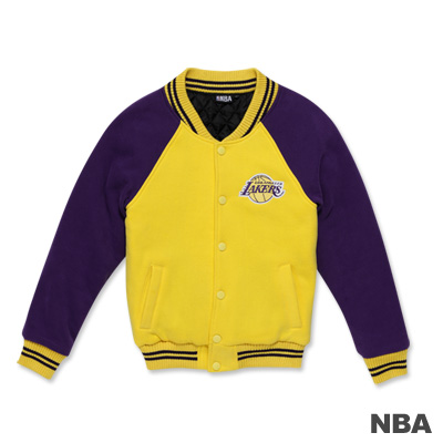 NBA-洛杉磯湖人隊繡花LOGO鋪綿棒球外套-黃色(女)