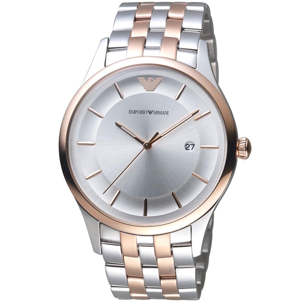 Emporio Armani Lambda雙色時尚腕錶-銀X玫瑰金/43mm
