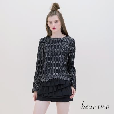 beartwo-復古錯視格紋布標喇叭袖上衣-二色