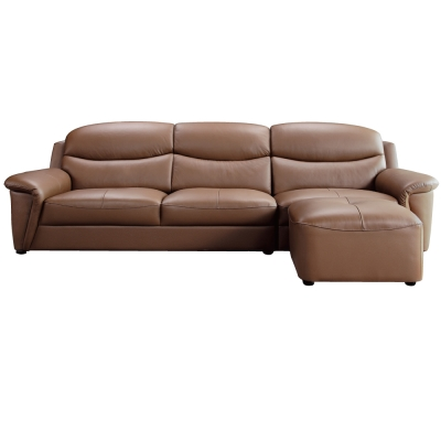 品家居 僑治半牛皮L型沙發(三人+腳凳)
