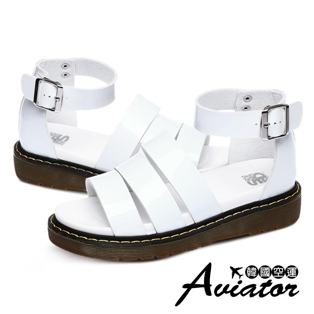 Aviator*韓國空運-PAPERPLANES質感金屬三線羅馬厚底涼鞋-白