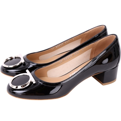 Salvatore Ferragamo ENA40 銀馬蹄飾漆皮粗跟鞋(黑色)