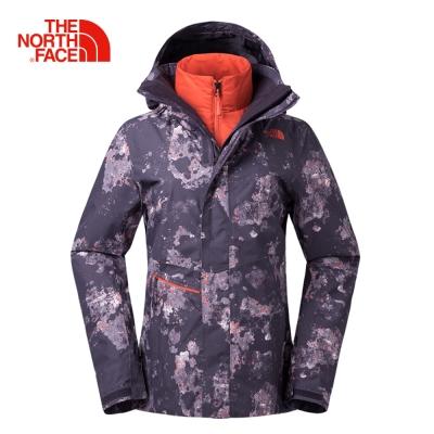 The North Face北面女款紫色防水透氣保暖三合一外套