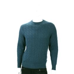 Andre Maurice 綠色麻花針織手肘拼接長袖毛衣(100%CASHMERE)