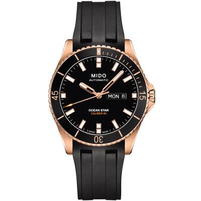 MIDO 美度 海洋之星 80動力 200米潛水機械錶-黑x玫瑰金/42mm