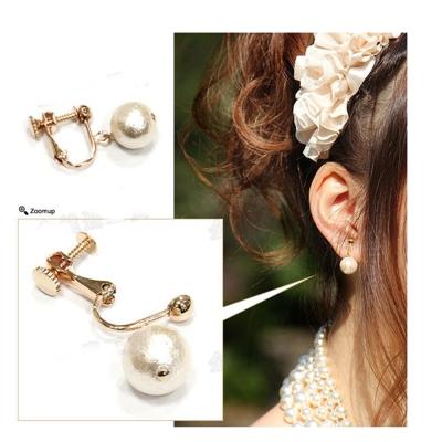 梨花HaNA 無耳洞新版8mm日本棉花珍珠定制耳環夾式