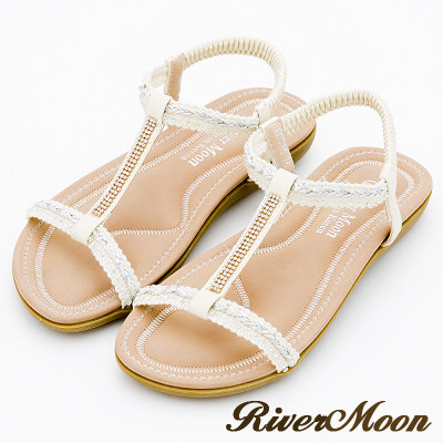 River&Moon大尺碼-簡約亮鑽編織工字Q軟涼鞋-氣質米