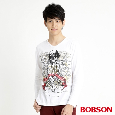 BOBSON 男款骷髏印圖長袖上衣(白80)