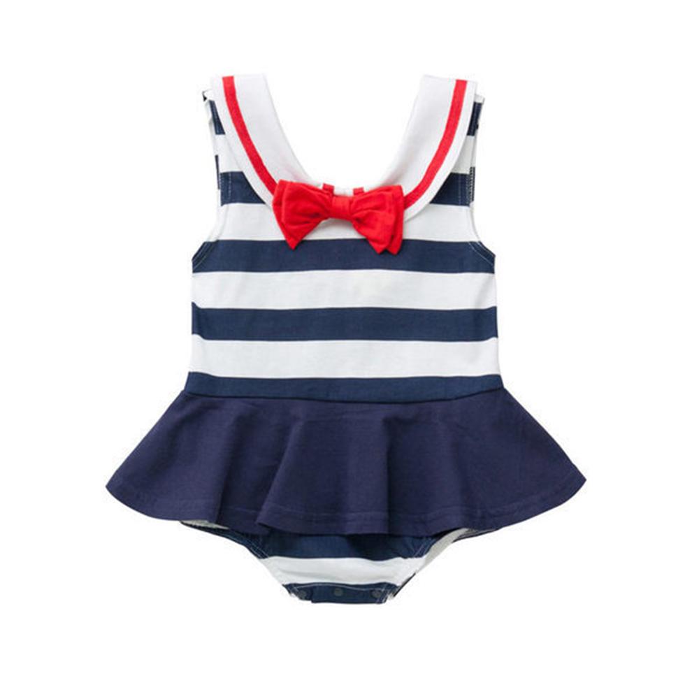 baby童衣無袖海軍領水手服造型包屁裙32018