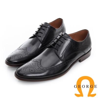 GEORGE 喬治-雕花手工真皮底牛津紳士鞋-黑色